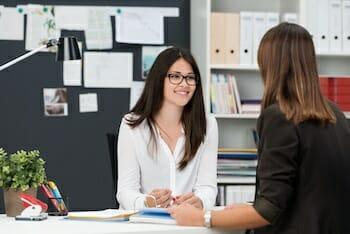 Two businesswomen having a meeting
